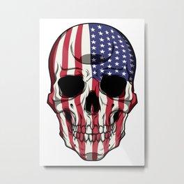 Patriotic Skull - United States Flag - USA Patriot Metal Print