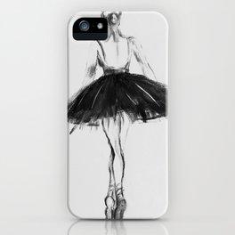 Ballerina, black white, pastel, charcoal iPhone Case