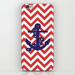 Blue Anchor on Red and White Chevron Pattern iPhone Skin