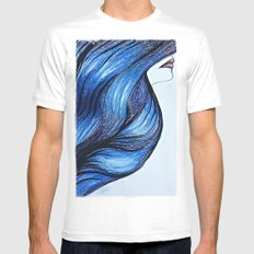 Abstract Hair MEDIUM White Mens Fitted Tee