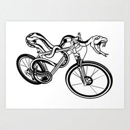 Snake Riding  A Mountain Bike Art Print