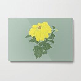 Yellow Dahlia Flower Illustrated Print Metal Print