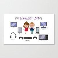 technology Canvas Prints featuring Technology Love by Juliana Motzko