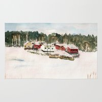 finland Area & Throw Rugs featuring Finland village by Nadezhda Shoshina