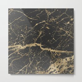 Marble Black Gold - Whistle Metal Print