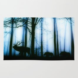 Deer in the blue forest Rug