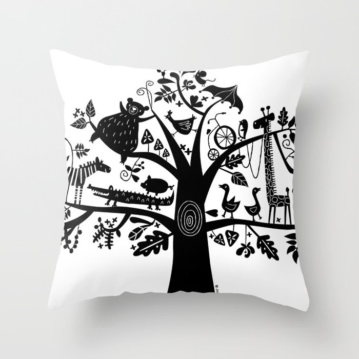 :) animals on tree Throw Pillow