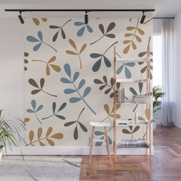 Assorted Leaf Silhouettes Blues Brown Gold Cream Wall Mural