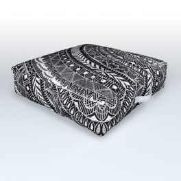 Zentangle Mandala Black and White Outdoor Floor Cushion