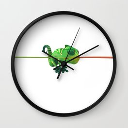 Run Cricket Run - Crazy Chameleon Wall Clock