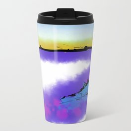Purple Abstract Beach Metal Travel Mug