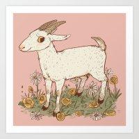 goat Art Prints featuring GOAT by Gwendolyn Wood
