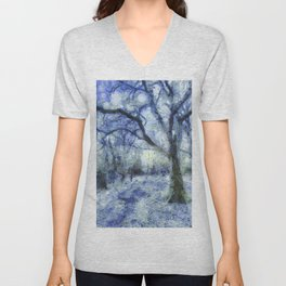 Blue Forest Van Gogh Unisex V-Neck