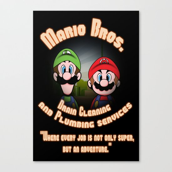 Super Mario Bros. Drain Cleaning & Plumbing Service Canvas Print