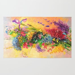 A bouquet of beautiful wildflowers Rug
