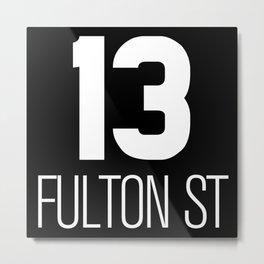 NY vintage subway car signage #13 Fulton St line Metal Print