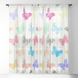 Colorful butterflies Sheer Curtain