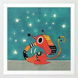 Red and Orange Dragonie Art Print
