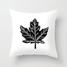 Maple Leaf black and white linocut texture simple minimal modern art decor for home office Throw Pillow