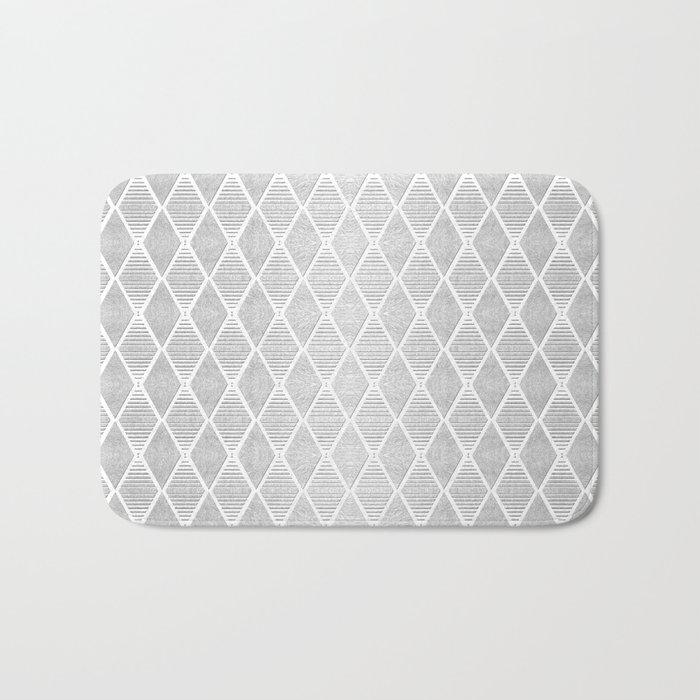 White and Silver Geometric Pattern Bath Mat
