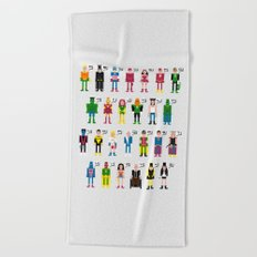Pixel Superhero Alphabet 2 Beach Towel