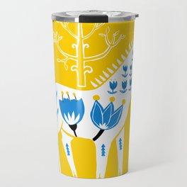 Folk horse on yellow Travel Mug