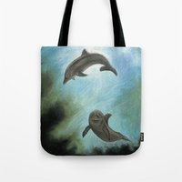dolphins Tote Bags featuring Dolphins by Savousepate