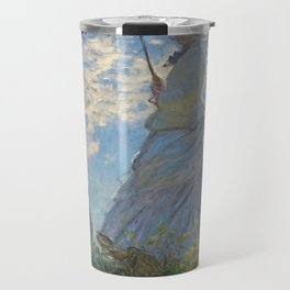 The Walk, Woman with a Parasol by Claude Monet Travel Mug