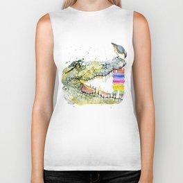 Crocodile and cake, T-shirt graphics. Crocodile and cake, illustration with splash watercolor  Biker Tank