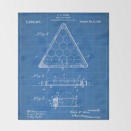Pool Patent - Billiards Art - Blueprint Throw Blanket