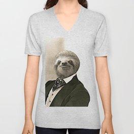 Gentleman Sloth in Authoritative Pose - Cartoon Unisex V-Neck