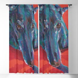 Greyhound on Red Blackout Curtain