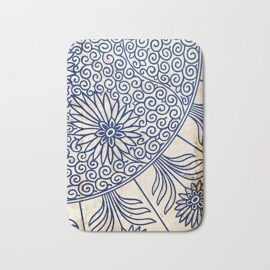 Blue Oriental Vintage Tile 01 Bath Mat