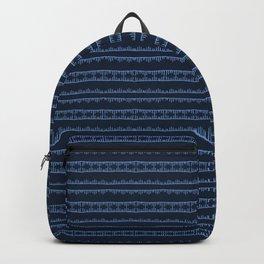 Indigo blue sashiko style japanese stripes embroidery pattern. Backpack