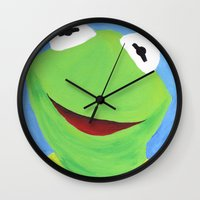 kermit Wall Clocks featuring Kermit the Frog by Hetty's Art