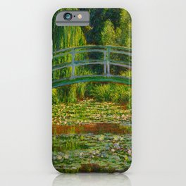 Claude Monet Impressionist Landscape Oil Painting-The Japanese Footbridge and the Water Lily Pool iPhone Case