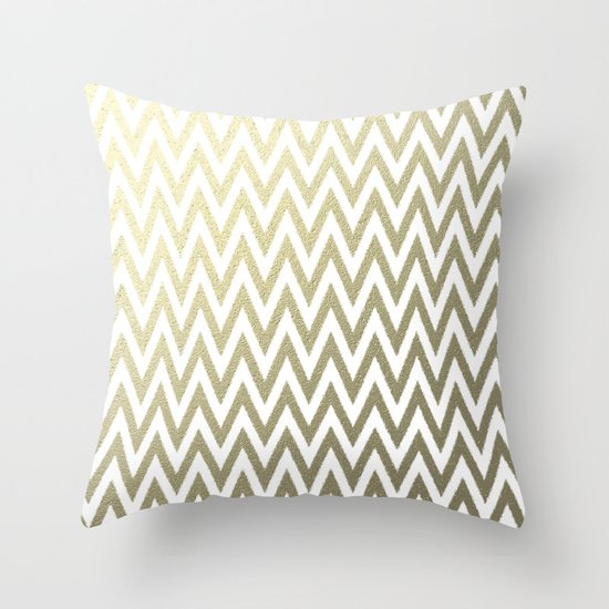 Gold Foil Decorative Pillow : Gold Foil Chevron Throw Pillow by Zen And Chic Society6