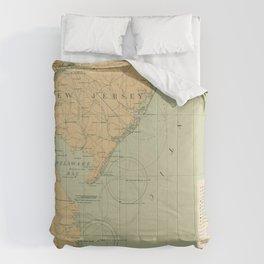 Vintage NJ, MD & Delaware Bay Lighthouse Map (1897) Comforters