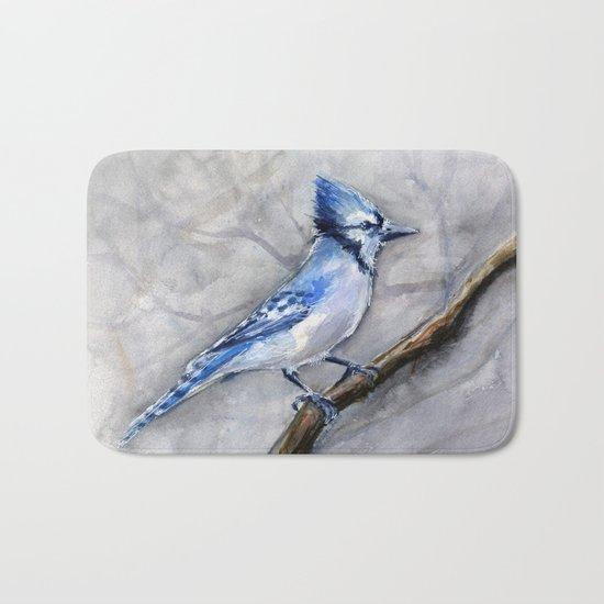 Blue Jay Watercolor Bird Bath Mat
