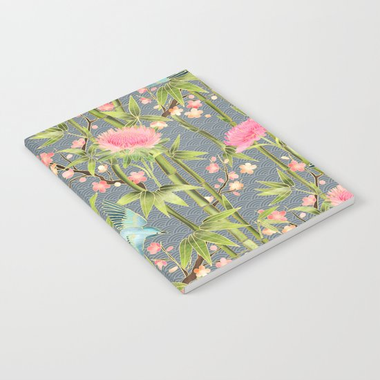 Bamboo, Birds and Blossom - grey Notebook