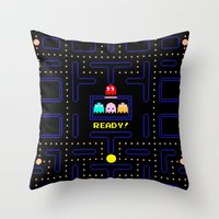 pac man Throw Pillows featuring Pac Man by Trash Apparel