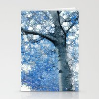 sia Stationery Cards featuring Magic Blue Tree by Joke Vermeer