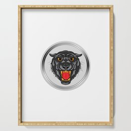 "An impactful design with a tiger in gray tones saying ""Clean Break"" for Clean freak person Cleanse  Serving Tray"
