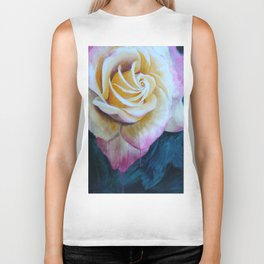 Pink and Yellow Rose painting Biker Tank