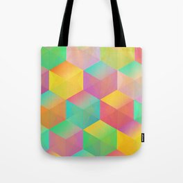 Rainbow Cubes (Vibrant Transparent Hexagon) Tote Bag