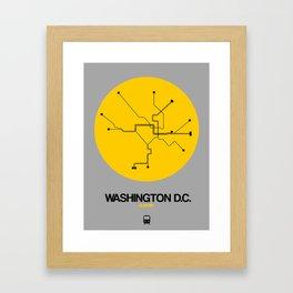 Washington D.C. Yellow Subway Map Framed Art Print