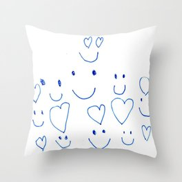 Hearts and Smiles Throw Pillow