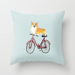 Look Mom No Hands Cycling Corgi Throw Pillow