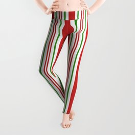 Red Green and White Candy Cane Stripes Thick and Thin Vertical Lines, Festive Christmas Leggings