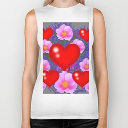 Red Hearts & Pink Wild Rose Valentine Purple Art Biker Tank